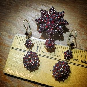 Jewelry - Vintage ♡ Sparkly Brooch & Earrings Set ♡ Wine Red